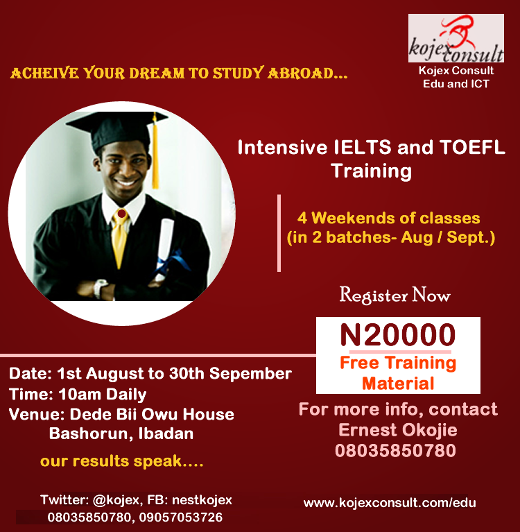 A special IELTS, TOEFL, GRE, SAT and PTE WORKSHOP TRAINING....